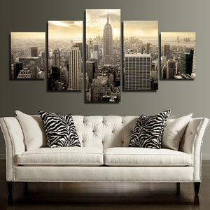 5 Piece Empire State Building Cityscape Canvas Poster Prints Picture Painting Art-088 (1)