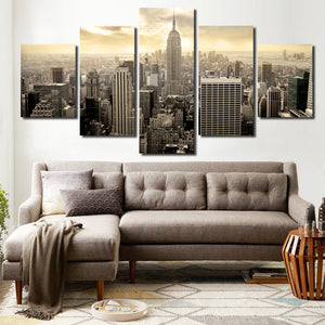 5 Piece Empire State Building Cityscape Canvas Poster Prints Picture Painting Art-088 (2)
