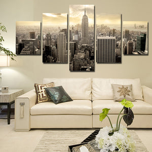 5 Piece Empire State Building Cityscape Canvas Poster Prints Picture Painting Art-088 (3)