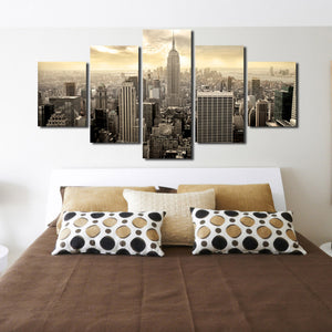 5 Piece Empire State Building Cityscape Canvas Poster Prints Picture Painting Art-088 (4)