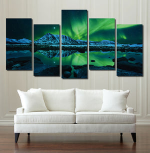 5 Piece HD Printed Painting Canvas Art Green Aurora Wall Picture- 073(1)