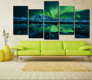 5 Piece HD Printed Painting Canvas Art Green Aurora Wall Picture- 073(2)