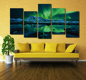 5 Piece HD Printed Painting Canvas Art Green Aurora Wall Picture- 073(3)