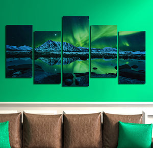5 Piece HD Printed Painting Canvas Art Green Aurora Wall Picture- 073(4)
