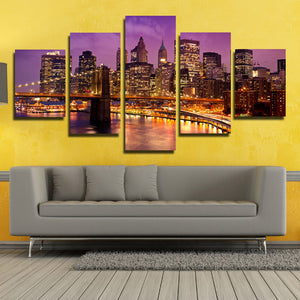 5 Piece New York Manhattan Brooklyn Bridge Night Landscape Canvas Prints Art-085 (1)