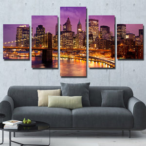 5 Piece New York Manhattan Brooklyn Bridge Night Landscape Canvas Prints Art-085 (2)