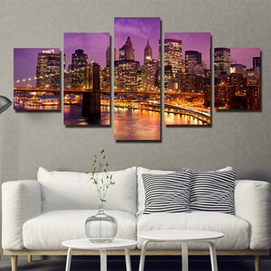 5 Piece New York Manhattan Brooklyn Bridge Night Landscape Canvas Prints Art-085 (3)