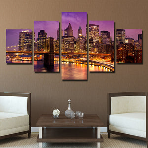 5 Piece New York Manhattan Brooklyn Bridge Night Landscape Canvas Prints Art-085 (4)