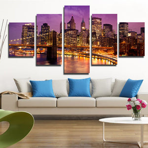 5 Piece New York Manhattan Brooklyn Bridge Night Landscape Canvas Prints Art-085 (5)