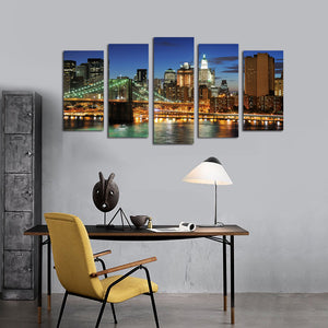 5 Panel New York City Brooklyn Bridge Nightscape Canvas Print-040(2)