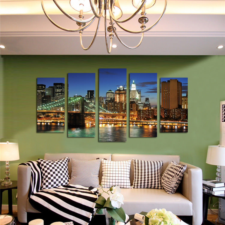 Large Framed Wall Art New York City Landscape Sunset: 5 Panel New York City Brooklyn Bridge Nightscape Canvas