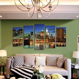 5 Panel New York City Brooklyn Bridge Nightscape Canvas Print-040(3)