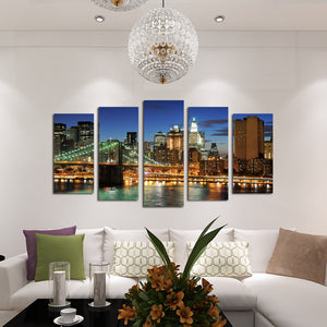 5 Panel New York City Brooklyn Bridge Nightscape Canvas Print-040(1)