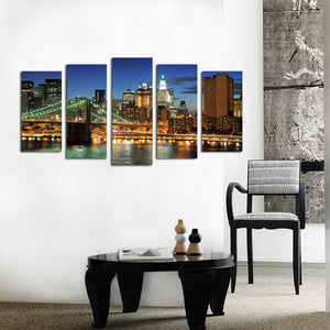 5 Panel New York City Brooklyn Bridge Nightscape Canvas Print-040(5)