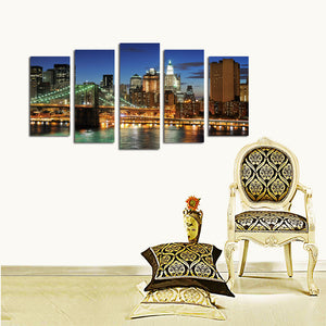 5 Panel New York City Brooklyn Bridge Nightscape Canvas Print-040(4)