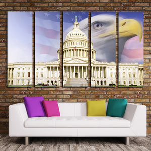 American Flag White House Bald Eagle Canvas Prints-076 (1)