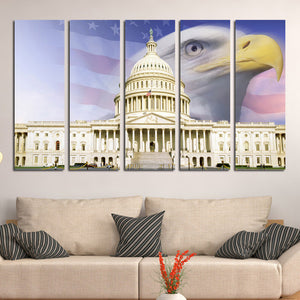 American Flag White House Bald Eagle Canvas Prints-076 (2)