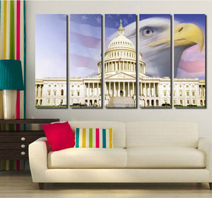 American Flag White House Bald Eagle Canvas Prints-076 (3)
