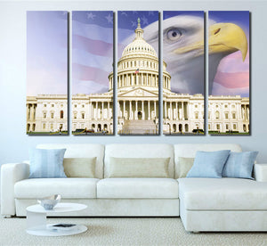 American Flag White House Bald Eagle Canvas Prints-076 (4)
