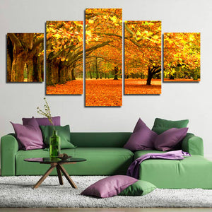 Autumn Park Tree Landscape Canvas Prints 5 Piece Mordern Wall Art-100 (1)