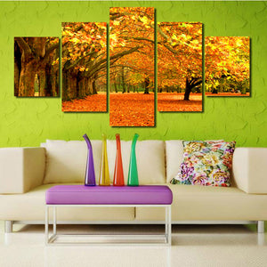 Autumn Park Tree Landscape Canvas Prints 5 Piece Mordern Wall Art-100 (2)