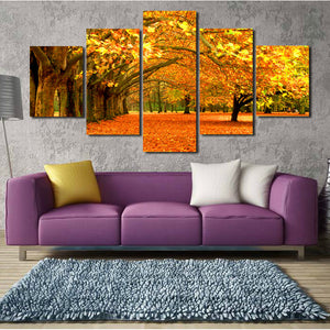 Autumn Park Tree Landscape Canvas Prints 5 Piece Mordern Wall Art-100 (3)