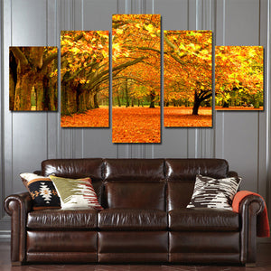 Autumn Park Tree Landscape Canvas Prints 5 Piece Mordern Wall Art-100 (4)