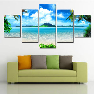 Beach Coco Tree View Canvas Picture 5 Panel Modern Prints Art-101 (1)