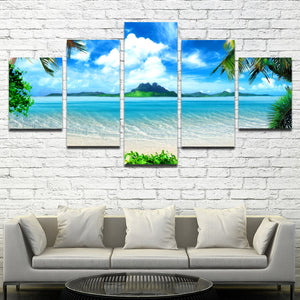 Beach Coco Tree View Canvas Picture 5 Panel Modern Prints Art-101 (2)