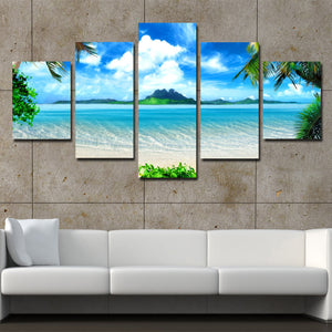 Beach Coco Tree View Canvas Picture 5 Panel Modern Prints Art-101 (3)