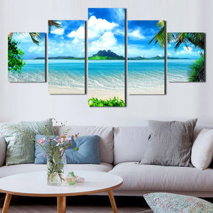 Beach Coco Tree View Canvas Picture 5 Panel Modern Prints Art-101 (4)