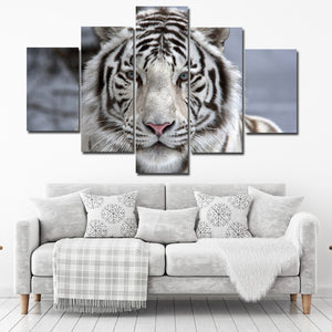 Black White Tiger Canvas Art Print Picture 5 Piece Animal Painting-125 (1)