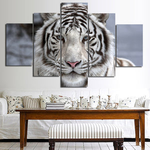 Black White Tiger Canvas Art Print Picture 5 Piece Animal Painting-125 (2)