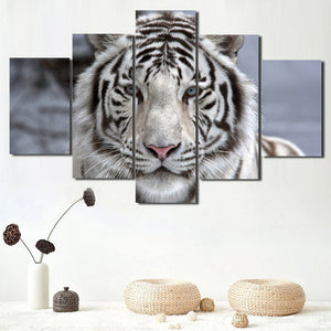 Black White Tiger Canvas Art Print Picture 5 Piece Animal Painting-125 (3)