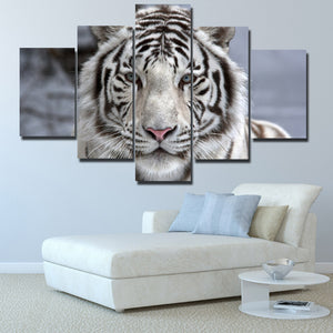 Black White Tiger Canvas Art Print Picture 5 Piece Animal Painting-125 (4)