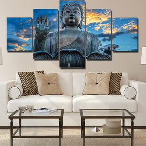 Budda Canvas Prints 5 Panel Modern Landscape Decor-112 (1)
