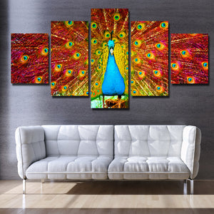 Canvas Prints Home Decor Painting 5 Panel Peacock Animal Wall Art-113 (1)