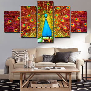 Canvas Prints Home Decor Painting 5 Panel Peacock Animal Wall Art-113 (2)