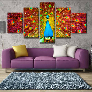 Canvas Prints Home Decor Painting 5 Panel Peacock Animal Wall Art-113 (4)