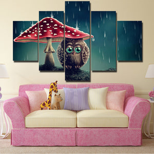 Cartoon Animal Painting 5 Panel Owl Under the Mushrooms Canvas Print-130 (1)