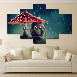 Cartoon Animal Painting 5 Panel Owl Under the Mushrooms Canvas Print-130 (2)
