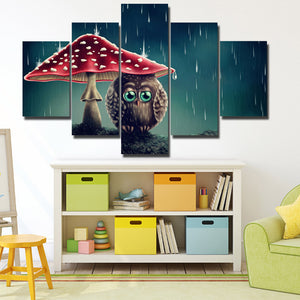 Cartoon Animal Painting 5 Panel Owl Under the Mushrooms Canvas Print-130 (3)
