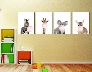 Chewing Gum Animal Hippie Kangaroo Zebra Koala Canvas Art Print-018 (3)