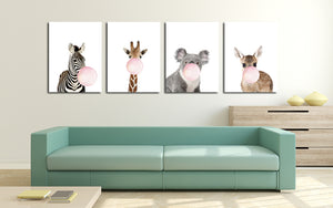 Chewing Gum Animal Hippie Kangaroo Zebra Koala Canvas Art Print-018 (4)
