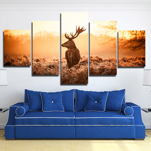 Deer Canvas Print 5 Panel Sunrise Scenery Painting-114 (1)
