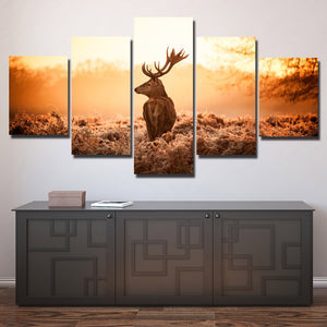Deer Canvas Print 5 Panel Sunrise Scenery Painting-114 (2)