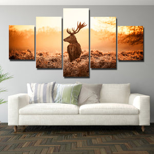 Deer Canvas Print 5 Panel Sunrise Scenery Painting-114 (3)