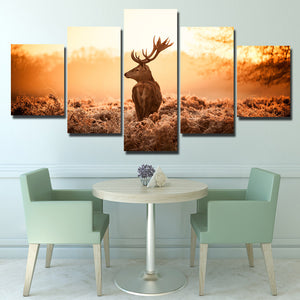 Deer Canvas Print 5 Panel Sunrise Scenery Painting-114 (4)