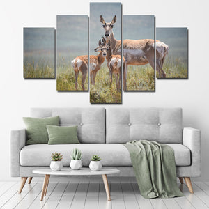 Deer Family Canvas Painting 5 Panel Animal Print Picture Poster-128 (1)