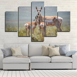 Deer Family Canvas Painting 5 Panel Animal Print Picture Poster-128 (2)